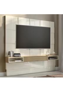Painel Para Tv Até 75 Polegadas Tb126 100% Mdf Off White/Carvalho - Dalla Costa