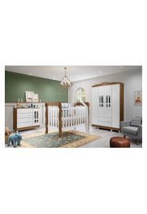 Dormitório Ariel Guarda Roupa 4 Portas Comoda Fraldário Berço Lila Amadeirado Rustico Carolina Baby Branco
