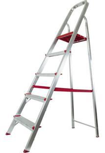 Escada De Alumínio 5 Degraus Modelo Residencial