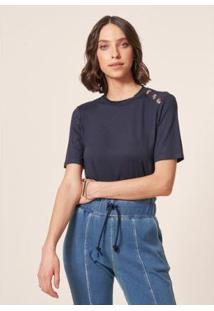 Camiseta Mob Malha Botão Feminina - Feminino-Azul