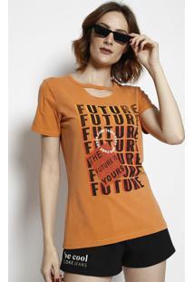 Camiseta Com Recorte Vazado - Laranja & Preta - Cocacoca-Cola