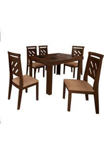 Mesa Extensível Max Tampo Vidro 140Cm Capuccino Com 6 Cadeiras Max Tecido Sued Bege