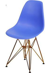 Cadeira Eames Polipropileno Azul Escuro Base Cobre - 45976 - Sun House