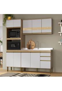 Cozinha Completa Mdf Detalhe Em Vidro Mel E Off White Lilies - Marrom/Off-White - Dafiti