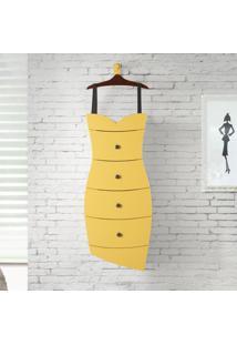 Cômoda Suspensa 4 Gavetas Dress 1081 Cacau/Amarelo - Maxima