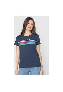 Camiseta Tommy Jeans Logo Listrada Azul-Marinho