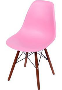 Cadeira Eames Polipropileno Rosa Pink Base Escura - 44836 - Sun House