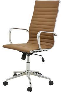 Cadeira Sevilha Eames Alta Pu Marrom Base Cromada - 38223 - Sun House