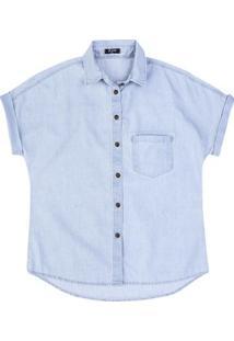 ff569065ff Hering. Camisa Jeans Em Algodão Com Lavação Clara