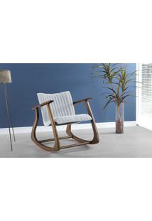 Cadeira De Balanço Estofada Smith Metalassê 65X83X72Cm - Verniz Capuccino \ Tec.915 - Cinza Claro