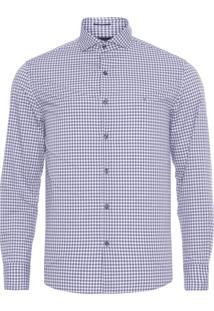 Camisa Masculina Micro Xadrez - Azul