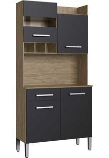 Armario Kit Cozinha 4 Portas E 1 Gaveta Wood/Preto Decibal