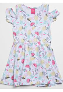 Vestido Infantil Open Shoulder Estampa Frutas