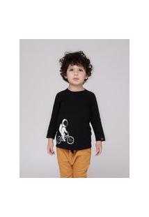 Amaro Feminino Caiçarinhas Baby Camiseta Infantil Manga Longa, Preto