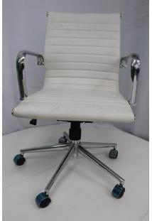 Cadeira Office Outlet Estofada Baixa Branca Cromada - 1 - Sun House
