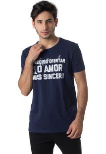 Camiseta O Amor Mais Sincero Gola Redonda Thiago Brado 1107000005 Marinho