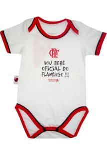 """Body Reve D'Or Sport """"""""Sou Bebê Oficial"""""""" Flamengo Branca, Vermelha E Preta"""