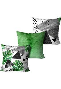 Kit 3 Capas Para Almofadas Decorativas Abstrato - Unissex