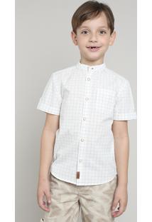 Camisa Infantil Estampada Xadrez Com Bolso Manga Curta Gola Portuguesa Off White