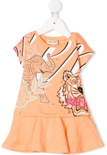Kenzo Kids Vestido De Algodão Com Estampa De Tigre - Laranja