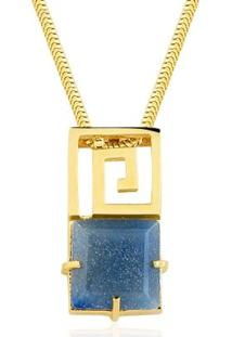 Colar Toque De Joia Labirinto Quartzo Azul - Feminino-Dourado