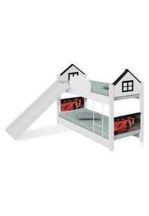 Beliche Infantil Casa Carro Red Com Escorregador E Colchões Casah