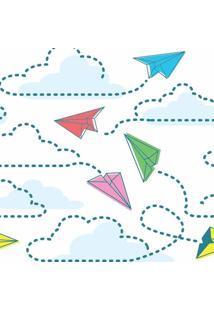 Papel De Parede De Aviões De Papel- Azul & Rosa- 300Jmi Decor