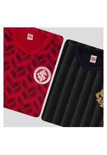 Kit De 2 Camisas Internacional Vermelha E Preta