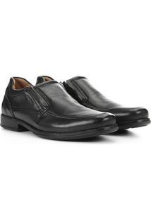 Sapato Social Couro Pegada Elástico Masculino - Masculino-Preto