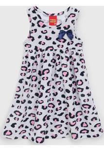Vestido Kyly Infantil Animal Print Cinza/Azul-Marinho