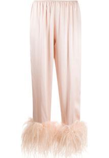 Gilda & Pearl Calça De Pijama Mia Com Acabamento De Plumas - Neutro