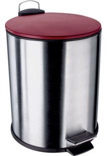 Lixeira Inox Com Pedal- Inox & Vermelho- 5L- Eureuro Homeware