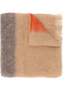 Jil Sander Cachecol Color Block Com Franjas - Neutro