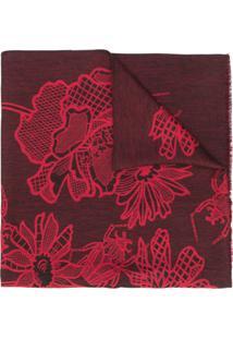 Paul Smith Cachecol Bicolor Com Padronagem Floral - Vermelho