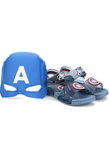 Sandália Infantil Grendene Kids Marvel Hero Glasses Masculina - Masculino-Azul Claro