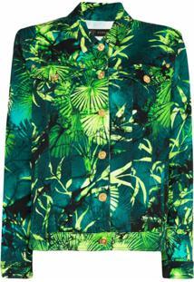 Versace Jaqueta Jeans Com Estampa De Palmeira - Verde
