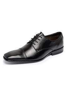 Sapato Social Masculino Ferrile De Amarrar Em Couro Preto
