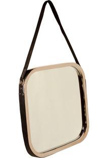 Espelho Thérèse Quadrado De Parede Com Alça De Couro