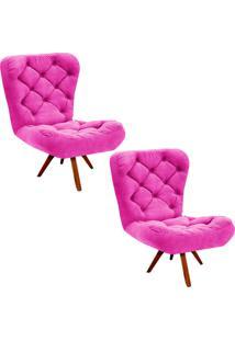 Kit 02 Poltronas Decorativa Botonê Iris Suede Pink Com Base Giratória De Madeira D'Rossi Rosa