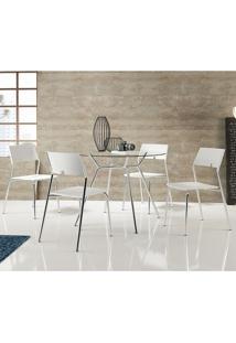 Conjunto Mesa 1527 Com Vidro Incolor Cromada Com 4 Cadeiras 1711 Branca Carraro