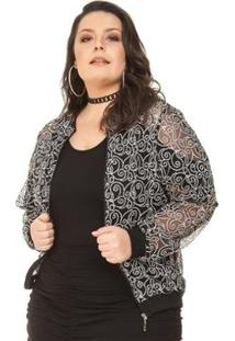 Jaqueta Bomber Plus Size Com Paetês Miss Masy Plus Feminina - Feminino-Preto