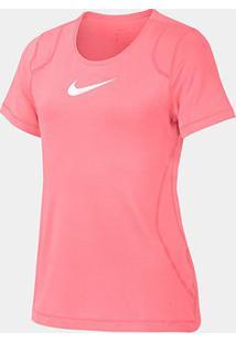 Camiseta Infantil Nike Top Ss Feminina - Feminino-Pink+Branco
