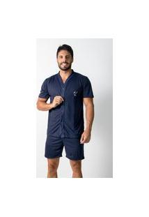 Pijama 4 Estações Masculino Adulto Com Botáo Aberto Short Curto Veráo Conforto Azul Marinho