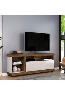 Rack Bancada Para Tv Até 70 Polegadas 1 Porta 4 Nichos Ilhabela Colibri Canela Rústico/Off White