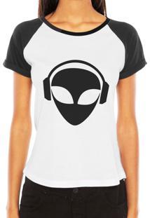 Camiseta Raglan Criativa Urbana Et Dj Alien Nerd Geek