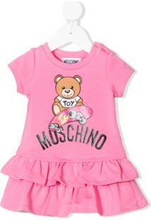Moschino Kids Vestido Com Amarração E Babados - Rosa