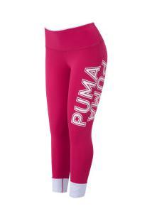 Calça Legging Puma Modern Sports Fold Up - Feminina - Rosa/Branco