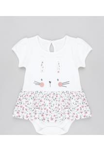 Body Saia Infantil Coelha Com Estampa Floral Manga Curta Decote Redondo Off White