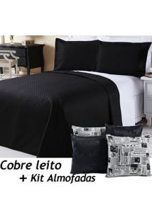 Kit Dourados Enxovais Cobre Leito C/ 4 Almofadas Cheias Dual Color Preto/Branco Jornal Dupla Face Queen 07 Peças