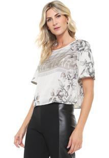 Camiseta Cropped Lança Perfume Estampada Off-White/Cinza - Kanui
